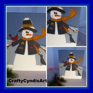 Snowman canvas 1 inch monkey